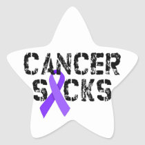 Cancer Sucks - Hodgkin's Lymphoma Cancer Ribbon Star Sticker