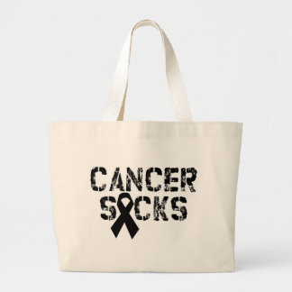 Cancer Sucks - Melanoma Cancer Ribbon Canvas Bags
