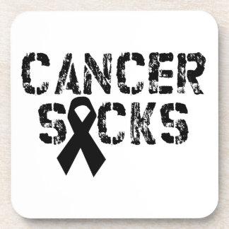 Cancer Sucks - Melanoma Cancer Ribbon Beverage Coaster