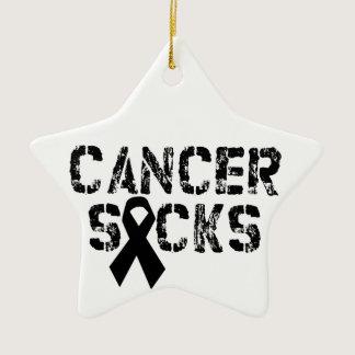 Cancer Sucks - Melanoma Cancer Ribbon Ceramic Ornament