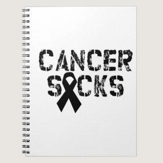 Cancer Sucks - Melanoma Cancer Ribbon Spiral Notebook