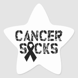 Cancer Sucks - Melanoma Cancer Ribbon Star Sticker