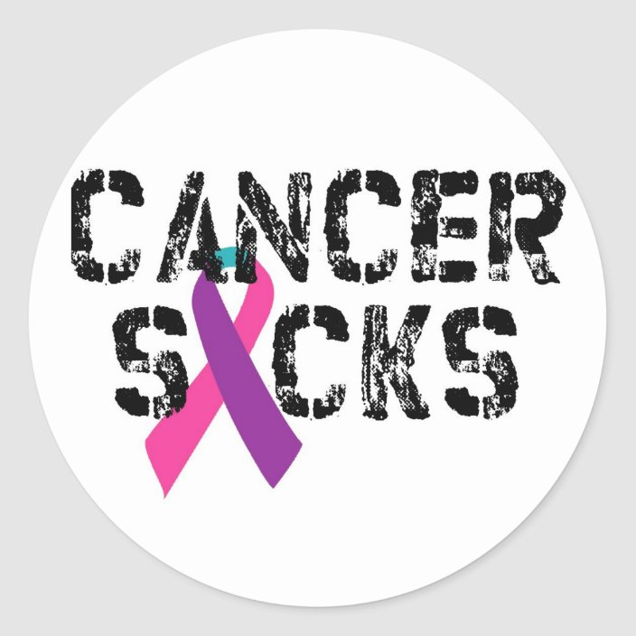 Cancer Sucks Thyroid Cancer Ribbon Classic Round Sticker Zazzle Com