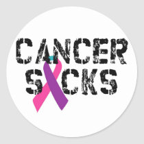 Cancer Sucks - Thyroid Cancer Ribbon Classic Round Sticker