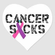 Cancer Sucks - Thyroid Cancer Ribbon Heart Sticker