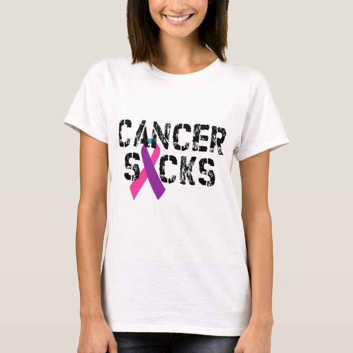 Cancer Sucks Thyroid Cancer Ribbon T Shirt Zazzle Com