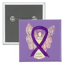 Cancer Survivor Awareness Ribbon Angel Custom Pins