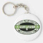 Cancer Survivor Green Basic Round Button Keychain