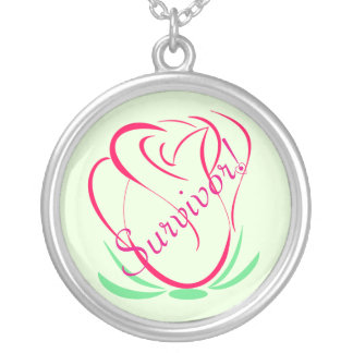 Cancer Survivor Large Silver Plated Round Necklace