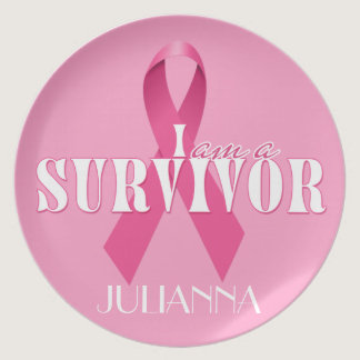 Cancer Survivor Pink Ribbon Breast Cancer Dinner Plate