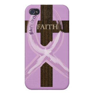 Cancer Survivor Ribbon on a Cross iPhone 4/4S Covers