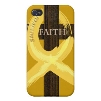 Cancer Survivor Ribbon on a Cross iPhone 4 Covers