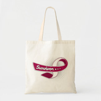 Cancer Survivor Ribbon Throat Cancer Tote Bags