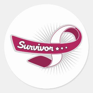 Cancer Survivor Ribbon Throat Cancer Classic Round Sticker