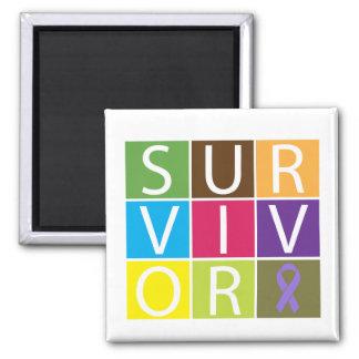 Cancer Survivor Tile Hodgkin's Lymphoma 2 Inch Square Magnet