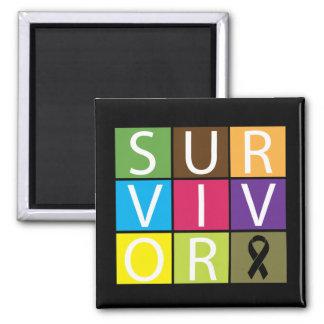 Cancer Survivor Tile Melanoma 2 Inch Square Magnet