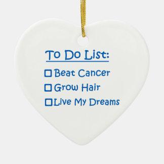 Cancer Survivor To Do List Double-Sided Heart Ceramic Christmas Ornament