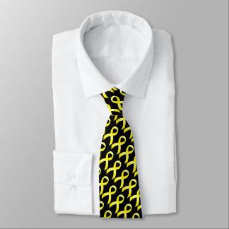 Cáncer testicular de la cinta amarilla corbatas personalizadas