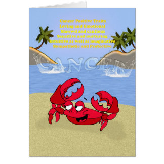 Cancer the crab, birthday card, cancerian card