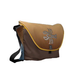 Cancer The Crab Silver Star Sign On Messenger Courier Bags