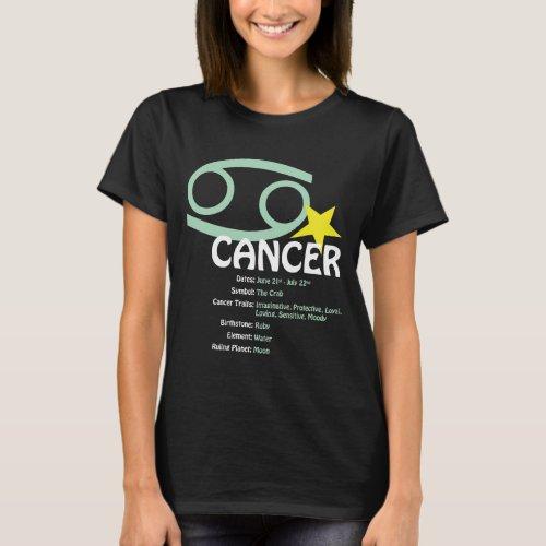 Cancer Traits Ladies Dark T_Shirt