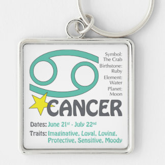 Cancer Traits Square Keychain