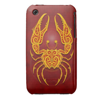 Cáncer tribal rojo de oro complejo Case-Mate iPhone 3 cárcasas