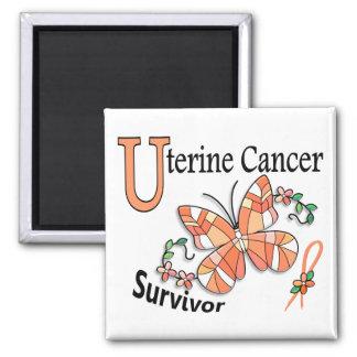 Cáncer uterino del superviviente 6 imán cuadrado