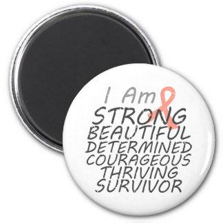 Cáncer uterino soy superviviente fuerte imán redondo 5 cm