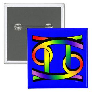 Cáncer y géminis GLBT Pin Cuadrado