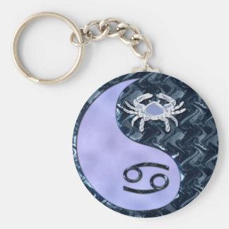 Cancer Yin Yang Basic Round Button Keychain