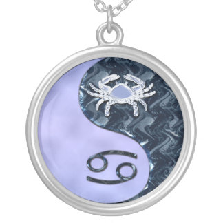 Cancer Yin Yang Round Pendant Necklace