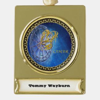 Cancer Zodiac Astrology design Horoscope Gold Plated Banner Ornament