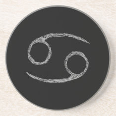 Cancer. Zodiac Astrology Sign. Black. Coaster at Zazzle