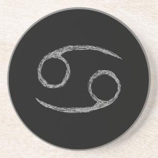 Cancer. Zodiac Astrology Sign. Black. Coaster