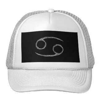 Cancer. Zodiac Astrology Sign. Black. Trucker Hats
