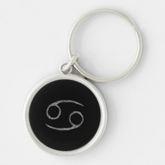 Cancer. Zodiac Astrology Sign. Black. Silver-Colored Round Keychain