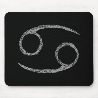 Cancer. Zodiac Astrology Sign. Black. Mouse Pad