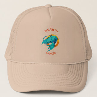 Cancer Zodiac Birthday Sign With Your Custom Name Trucker Hat