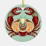 Cancer Zodiac - Crab Double-Sided Ceramic Round Christmas Ornament