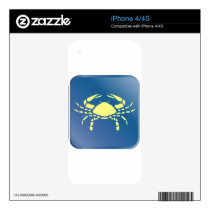 Cancer Zodiac Decal For iPhone 4