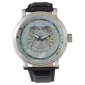 Cancer Zodiac Gold Abalone on Constellation Wristwatch