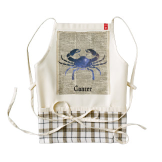 Cancer  Zodiac Illustration At Old Dictionary Page Zazzle HEART Apron