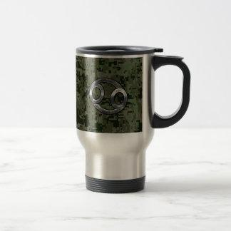Cancer Zodiac Sign on Green Digital Camouflage Travel Mug