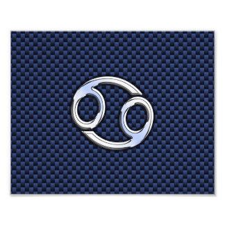 Cancer Zodiac Sign on Navy Blue Carbon Fiber Print Photo Print