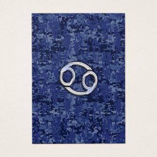 Cancer Zodiac Sign on Navy Blue Digital Camo Business Card
