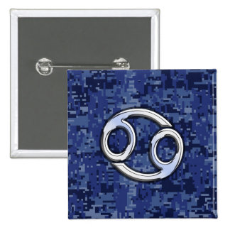 Cancer Zodiac Sign on Navy Blue Digital Camo 2 Inch Square Button