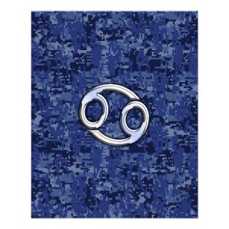 Cancer Zodiac Sign on Navy Blue Digital Camo Flyer