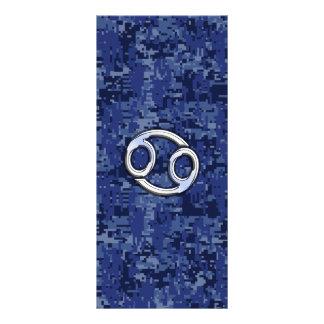 Cancer Zodiac Sign on Navy Blue Digital Camo Rack Card