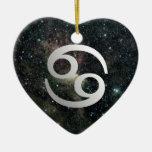 Cancer Zodiac Star Sign Universe Heart Birthday Ceramic Ornament